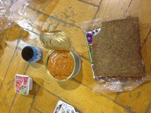 Some of the food we received on our first night - canned fish sauce/dip and chłeb!