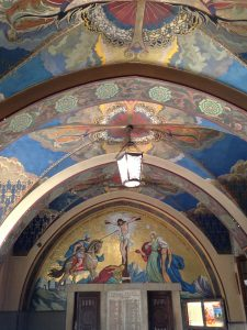 The narthex in the Jesuit church located in the city center. Beautiful paintings!